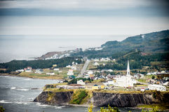 Scenic view of small village in Quebec country Royalty Free Stock Photo