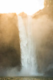 Scenic view of Snoqualmie falls with golden fog when sunrise in the morning. Stock Photography