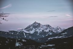 Scenic View Of Snow Capped Mountain Stock Image