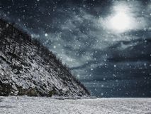 Scenic View of Snow Covered Landscape Against Sky Stock Photos