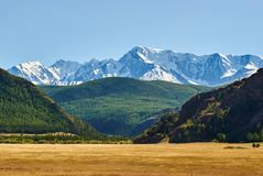 View of the snow-covered North-Chuya range in the Altai mountains, Siberia, Russia royalty free stock images