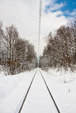 Railway Track in winter Royalty Free Stock Photography