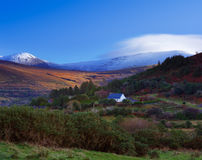 A scenic view of a snowy Kerry Mountains in County Kerry, Ireland Royalty Free Stock Photo