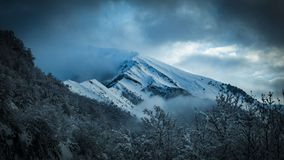 Scenic View of Snowy Mountain royalty free stock photography