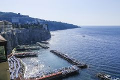 Scenic view of Sorrento, Neapolitan Riviera, Vesuvius volcan. Scenic aerial view of Sorrento, Neapolitan Riviera, Italy, during summertime stock images