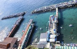 Scenic view of Sorrento, Neapolitan Riviera, Vesuvius volcan. Scenic aerial view of Sorrento, Neapolitan Riviera, Italy, during summertime royalty free stock images