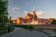 Scenic view of st. Bartholomew church on Tumski Island in sunset light. Wroclaw, Poland Royalty Free Stock Photos