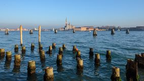 Venice,Italy. Scenic view of St George Church and a island of Giudecca in the Dorsoduro quarter of Venice viewed from the opposite side of the Giudecca canal at royalty free stock image