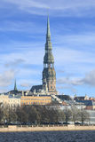 Scenic view of St. Peter's cathedral, Riga (Latvia) Stock Photos