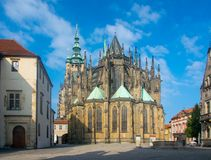 Scenic view of St. Vitus Cathedral in Prague, Czech Republic. At sunny day stock photo