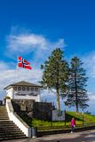Scenic view at summer day from Top of Mount Floyen Glass Balcony Viewpoint mountain on terrasse kios. Bergen Hordaland Stock Photos