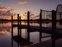 Locked Gate to the Sunrise royalty free stock photography