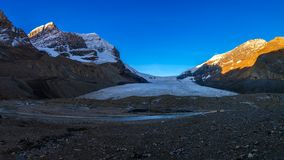 Scenic view of the sunrise over the Athabasca Glacier in the Jas Stock Images