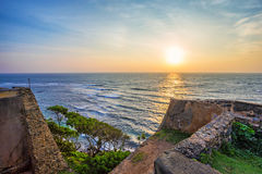 Scenic view of sunrise from walls at fort Galle. Beautiful romantic view of sunrise from walls of old colonial fort Galle, Sri Lanka Royalty Free Stock Images