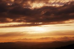 Sunset. Scenic view of sunset mountains at Peneda Geres National Park in northern Portugal stock photos