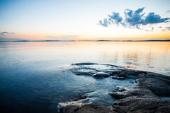 Scenic view at sunset. Sunset on swedish coast overlooking the sea royalty free stock images