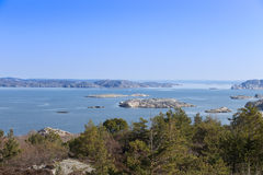 Scenic view of swedish coast. Scenic view from a hill on swedish coast stock photos