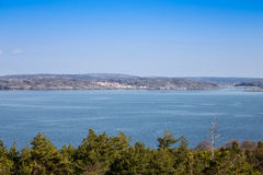 Scenic view of swedish coast. Scenic view from a hill on swedish coast stock image