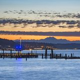Scenic view in the Tacoma bay at sunset royalty free stock photo