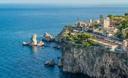 Scenic view of Taormina coastline, province of Messina, Sicily, southern Italy. stock photo