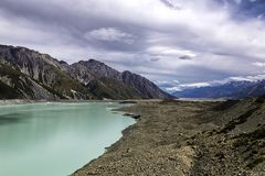 Scenic view of Tasman Glacier Lake and the mountains of Mt Cook National Park stock image