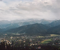 Scenic view of Tatra Mountains. And Zakopane in the evening, Poland. Instagram filter Stock Photo