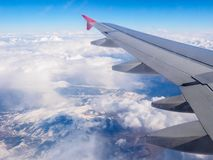 Scenic view of the Taurus Mountains from the airplane porthole, Turkey