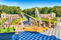 Scenic view from the terrace of Peterhof Palace, Russia Royalty Free Stock Image