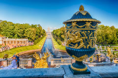 Scenic view from the terrace of Peterhof Palace, Russia Royalty Free Stock Photo