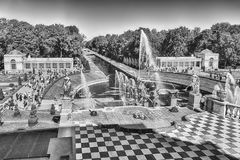 Scenic view from the terrace of Peterhof Palace, Russia Stock Images