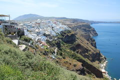 Scenic view of Thira in Santorin with mounain and blue ocean Royalty Free Stock Images