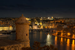 Scenic view on the three cities of Malta. View from Valletta on the three cities in Malta Royalty Free Stock Photo