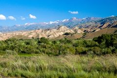 Scenic view of Tien Shan mountains Royalty Free Stock Images