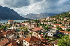 Scenic View To Bay Of Kotor A Medieval Town In Montenegro By the Royalty Free Stock Images