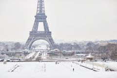 Scenic view to the Eiffel tower on a day with heavy snow Stock Photo