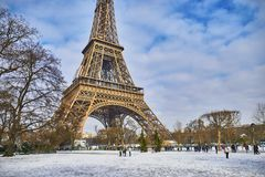 Scenic view to the Eiffel tower on a day with heavy snow Stock Photography