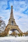 Scenic view to the Eiffel tower on a day with heavy snow Royalty Free Stock Photo