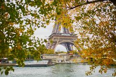 Scenic view to the Eiffel tower on a fall day Stock Photo