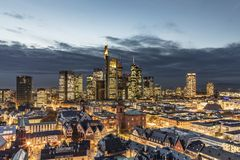 Scenic view to frankfurt with river by night stock images