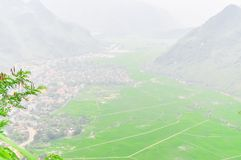 Mai Chau valley rural district in the Northwest region of Vietna. Scenic view to Mai Chau valley, a rural district of Hoa Binh Province in the Northwest region Royalty Free Stock Image