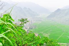 Mai Chau valley rural district in the Northwest region of Vietna. Scenic view to Mai Chau valley, a rural district of Hoa Binh Province in the Northwest region Stock Images
