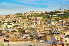 Scenic view to the medina of Fes with mosk Royalty Free Stock Photo