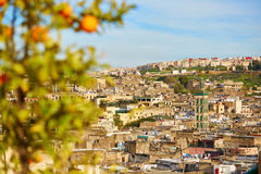 Scenic view to the medina of Fes Stock Photos