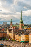 Scenic view to roofs of Gamla stan and German Church of Stockholm, Sweden Royalty Free Stock Image