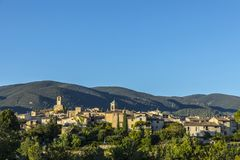 Scenic view to the village of Lourmarin in France. Scenic view to the village of Lourmarin in the Provence, France Royalty Free Stock Images