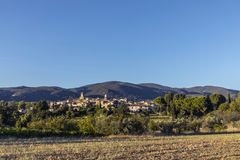 Scenic view to the village of Lourmarin in France. Scenic view to the village of Lourmarin in the Provence, France Royalty Free Stock Photos
