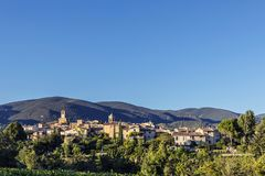 Scenic view to the village of Lourmarin in France. Scenic view to the village of Lourmarin in the Provence, France Stock Photo