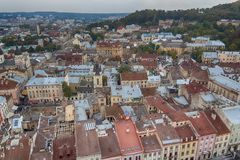 Scenic view on top of the town`s medieval architecture. Lviv. Ukraine stock photo