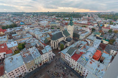 Scenic view on top of the town's medieval architecture. Lviv. Ukraine royalty free stock photos