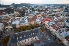 Scenic view on top of the town's medieval architecture. Lviv. Ukraine stock photos